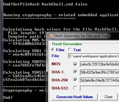 HashForm & HashShell - Calculation of File and Text Hash Functions