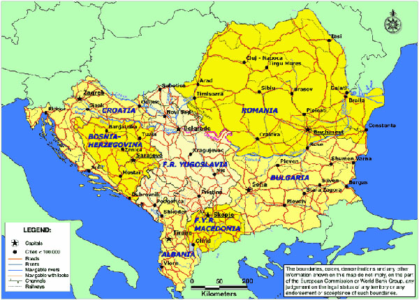 Map of South Eastern Europe