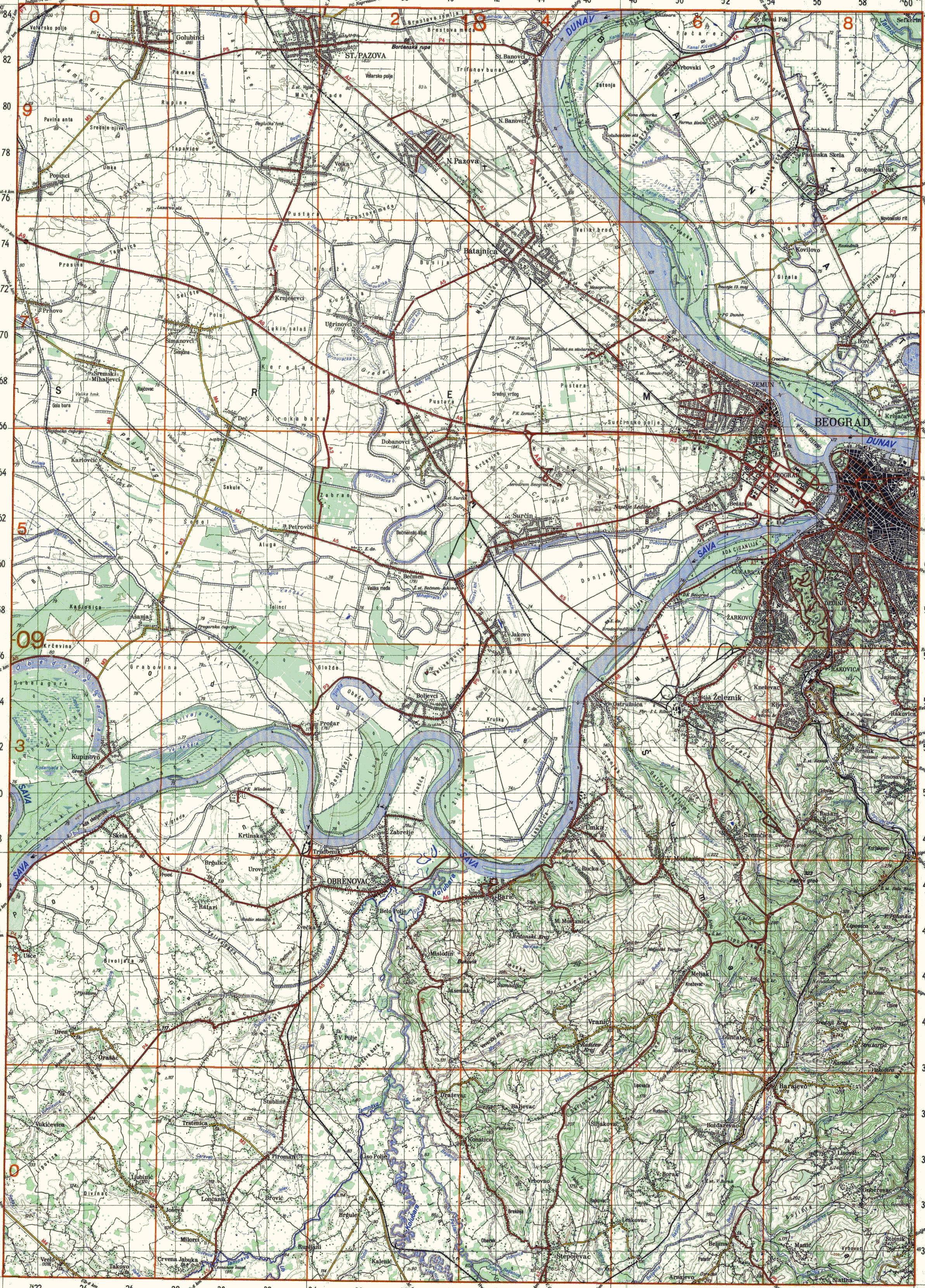 topografska karta beograda Index of /~nmhipot1/exyu/SR100 topografska karta beograda